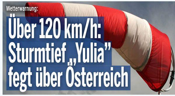 """بسرعة 122 كم – العاصفة """"يوليا"""" تجتاح النمسا"""