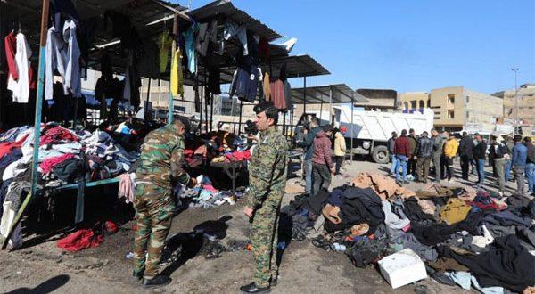 بغداد – عشرات الجرحى والقتلى في تفجيرين انتحاريين في سوق للملابس المستعملة
